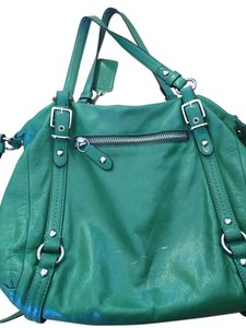 Coach Leather Silver Hardware Satchel in Green