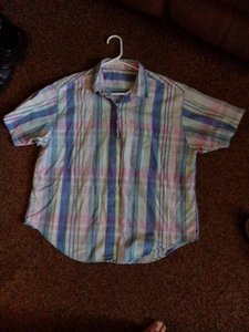 Other Button Down Shirt Blue Pink green and some white