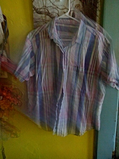 Other Button Down Shirt Blue Pink green and some white Image 1