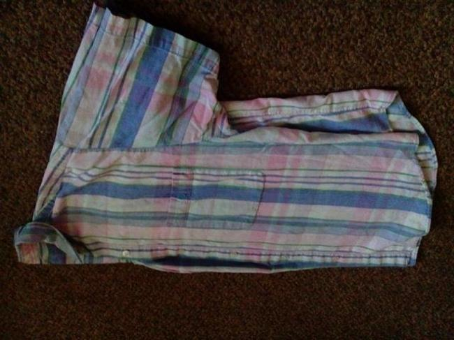 Other Button Down Shirt Blue Pink green and some white Image 3