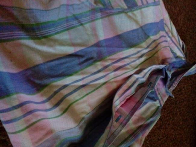 Other Button Down Shirt Blue Pink green and some white Image 4
