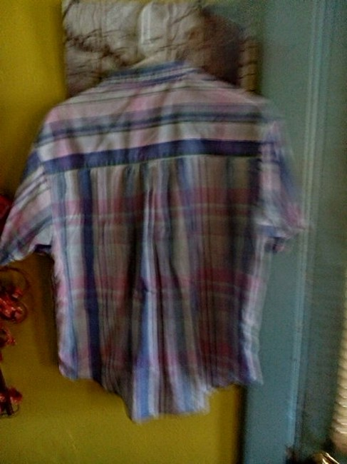 Other Button Down Shirt Blue Pink green and some white Image 5