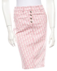 Dior Multicolor Pencil Diorissimo Logo Monogram Print New 4 S Small Silver Hardware Skirt Pink, White