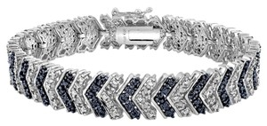 1 Carat TDW Blue & White Diamond Chevron Bracelet