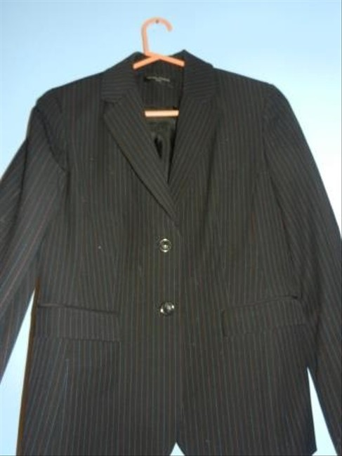 Valerie Stevens Petites Black with Blue & Red Pinstripes Blazer