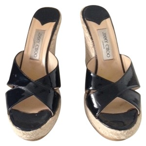 Jimmy Choo Comfortable Platform Great Condition Black Patent Leather Espadrille Wedge Sandals