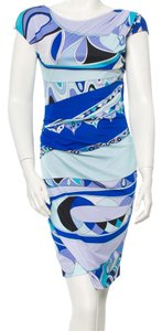 Emilio Pucci Blue White Multicolor Print Dress