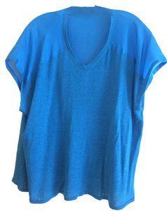 Eileen Fisher Silk Short Sleeve Linen Top Blue