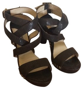 Jimmy Choo Platform Strappy Ankle Strap Brown Mules