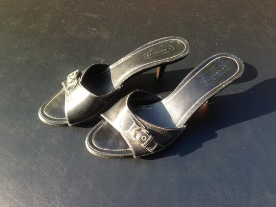 Coach Black with white stitching Sandals