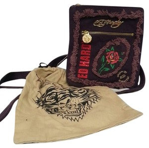 Ed Hardy Purple Messenger Bag