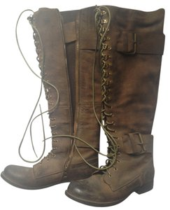 Jeffrey Campbell Lace Up Distressed Textured Leather Buckles Combat Style Stretch By Calf Long Zipper 19 Inch Shaft Distressed Brown Boots