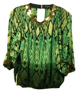 Bebe Top Green Sequin Kimono Style Top Color PHN