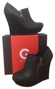 Guess Leather Platform Sassy New Black Leather Wedges