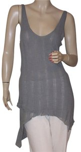 Alice + Olivia Distressed Featherweight Top Gray