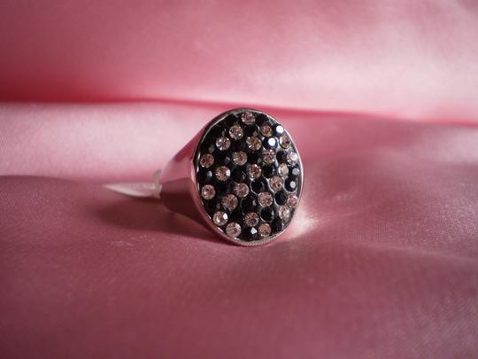 Other Black and White Austrian Crystal Ring in Stainless Steel (Size 6)