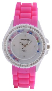 New STRADA Multi Color Austrian Crystal Japanese Movement Watch with Pink Silicone Band and Stainless Steel Back