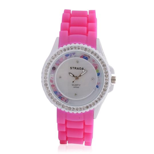 Other New STRADA Multi Color Austrian Crystal Japanese Movement Watch with Pink Silicone Band and Stainless Steel Back