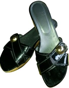 Stuart Weitzman Black Patent Leather Wedges