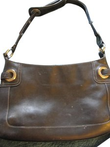 Bally Italy Leather Rivets Studded Designer Shoulder Bag