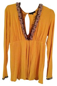 T-Bags Los Angeles Date Night Empire Waist Embellished Fringe Hem Top Yellow
