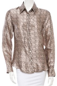 Burberry Logo Monogram Ribbon London Shirt Silk M New Top Beige, Silver, Brown, Black