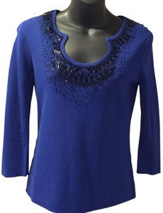 Cable & Gauge Beaded Nylon Viscose Top Dark Blue