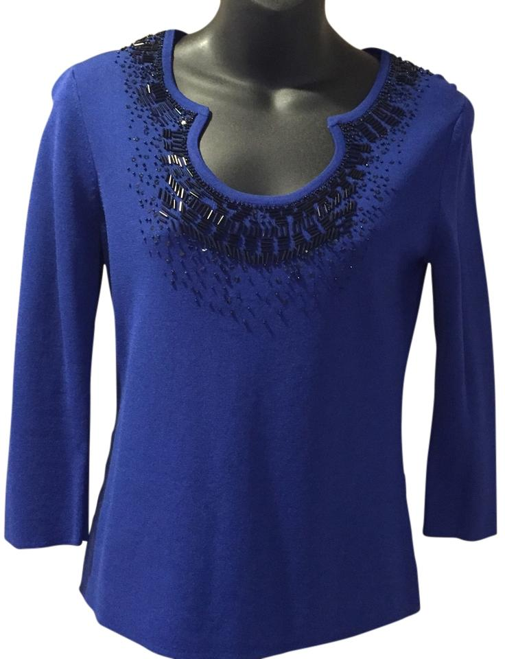 Cable & Gauge Deep Blue Beaded Blouse Size Petite 12 (L) - Tradesy