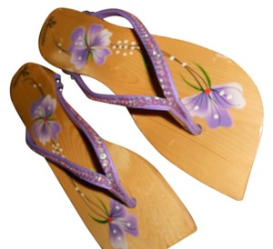 BLOSSOMS Wooden Orchard Sequins PURPLE Sandals