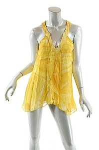 Diane von Furstenberg Falyn Silk Sand Lines Top Yellow