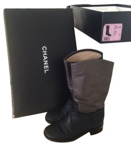 Chanel Leather Riding Flat Black Boots