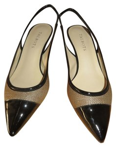 Talbots Slingback Leather Faux Leather Faux Patent Brown, Black Pumps