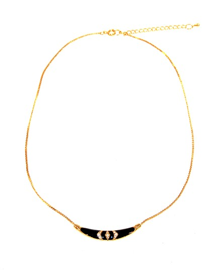 Other Skinny Mini Pave Gold Black Enamel Necklace Image 1