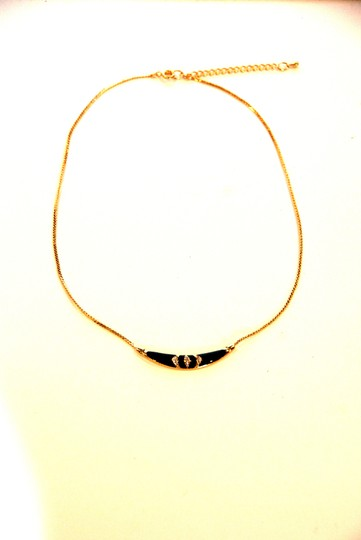 Other Skinny Mini Pave Gold Black Enamel Necklace Image 4