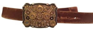 Brown Leather Belt with two belt buckles