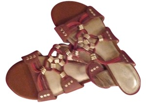 Antonio Melani Leather Warm Brown, with red and gold accents Sandals