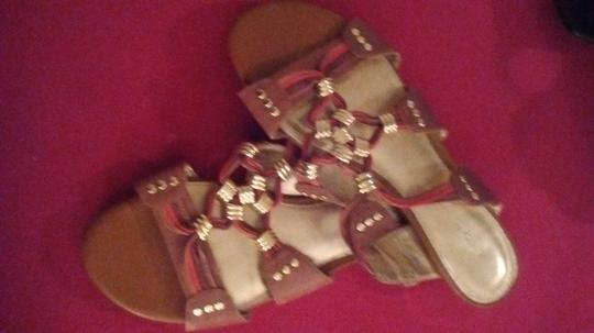 Antonio Melani Leather Warm Brown, with red and gold accents Sandals Image 2