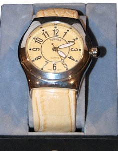 Bijoux Terner Oversized Cuff Bangle Ladies Watch w/ Beige/Cream Faux Alligator Strap