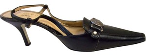 Anne Klein Leather Medium Stilleto Heel Pointed Toe Iflex Metal Logo Designer Logo Ak Straps Black Pumps