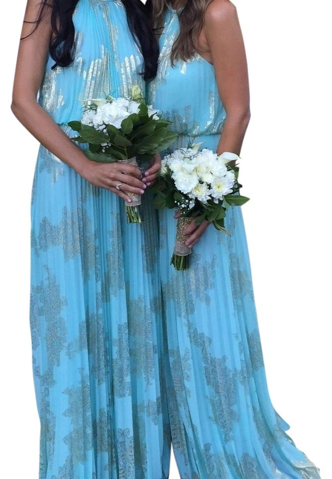 Xscape Mint & Gold Pleated Halter Top Gown Long Formal Dress Size 2 ...
