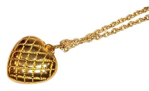 Gold Puffed Quilted Heart Charm Necklace with Chain