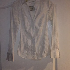 Guess Button Down Shirt Black with silver thin stripes