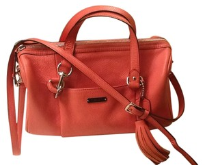 Coach Leather Satchel in Peach pink