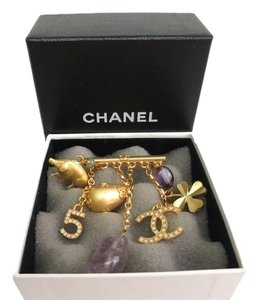 Chanel Chanel No 5 Charm Gold Tone Pearl Stone Chain Pin Brooch with Box