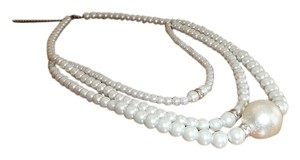 Three Row Faux White Pearl Statement Necklace with Extender