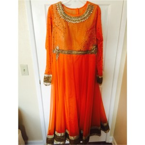 Orange Traditional Indian Anarkali Dress