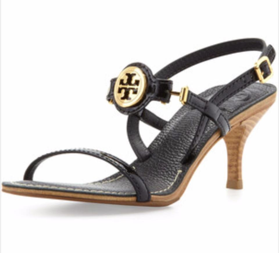 142ef55f7 Tory Burch Navy Blue Mira Leather Logo Pumps Open Toe Logo Wooden Sandals.  Size  US 10 ...