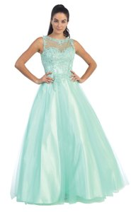 Blush, Mint Floral Lace Bodice Tulle Beades Formal Dress