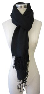 Other Pashmina Black Scarf with Print 70% Pashmina/30% Silk