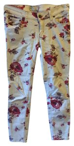Free People Skinny Pants Cream/Red Flowers